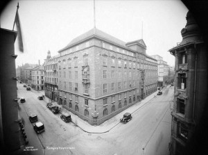 """Telegrafbygningen 1932. Det """"gamle"""" hjørnet (Tollbugt. 23) er fortsatt intakt."""