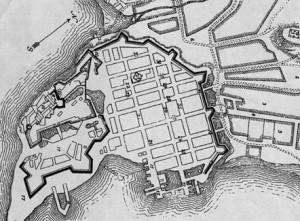 Kart over Christiania fra Christian IVs tid med Kvadraturen innenfor festningsvollene.