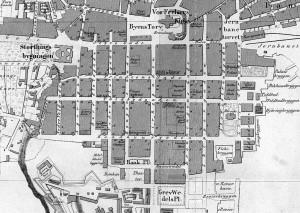 Kvadraturen i Christiania 1861. Legg merke til at Karl Johans gate opprinnelig het Østre Gade, den byttet navn ca 1860. (Klikk på bildet for å få opp kartet i større format)