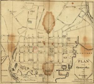 """Plan over Christiania fra 1827. Det som senere skulle bli """"Telekvartalet"""" er markert med rødt, og vi ser at Mariboegården (Prinsens gate 20) er avmarket som """"Universitetet"""". ***(klikk på bildet for å få det opp i større format)"""
