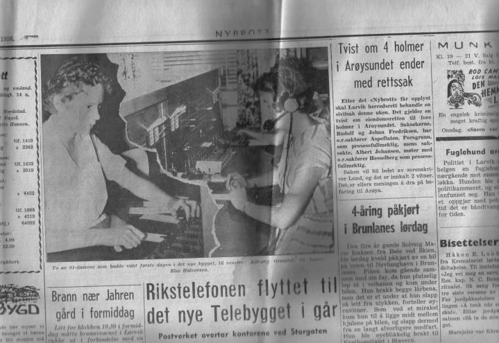 Avisutklipp om telebygget i Kristian Fredriks vei 1958