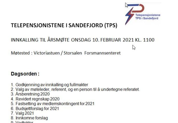 SAN-ÅRSMØTE 10 FEBRUAR 2021